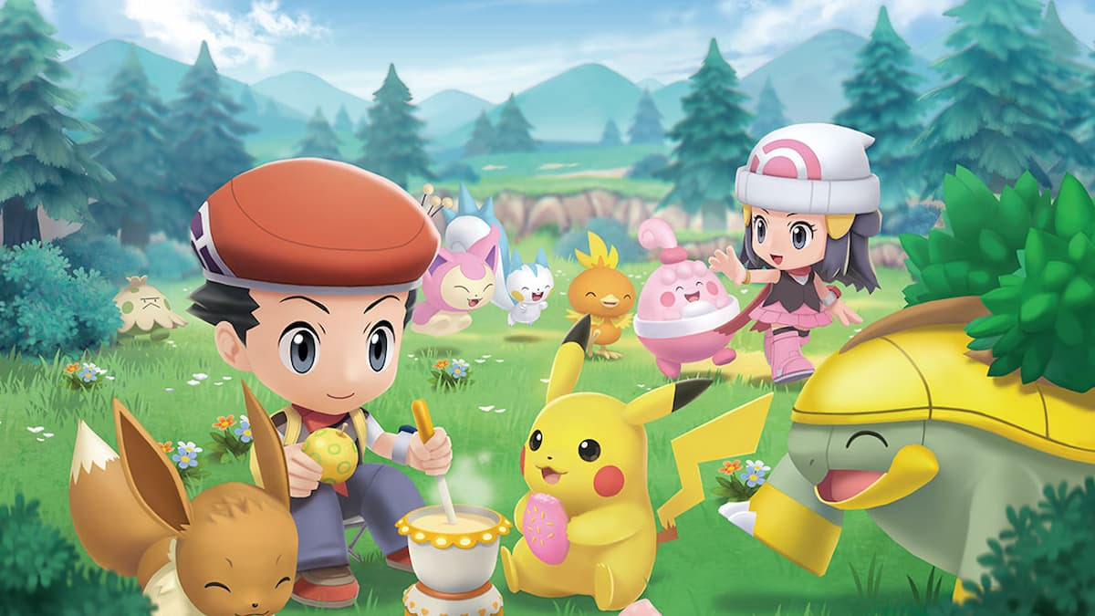 The player characters of Pokemon Brilliant Diamond and Shining Pearl are sat in a meadow like area cooking poffins for various pokemon.