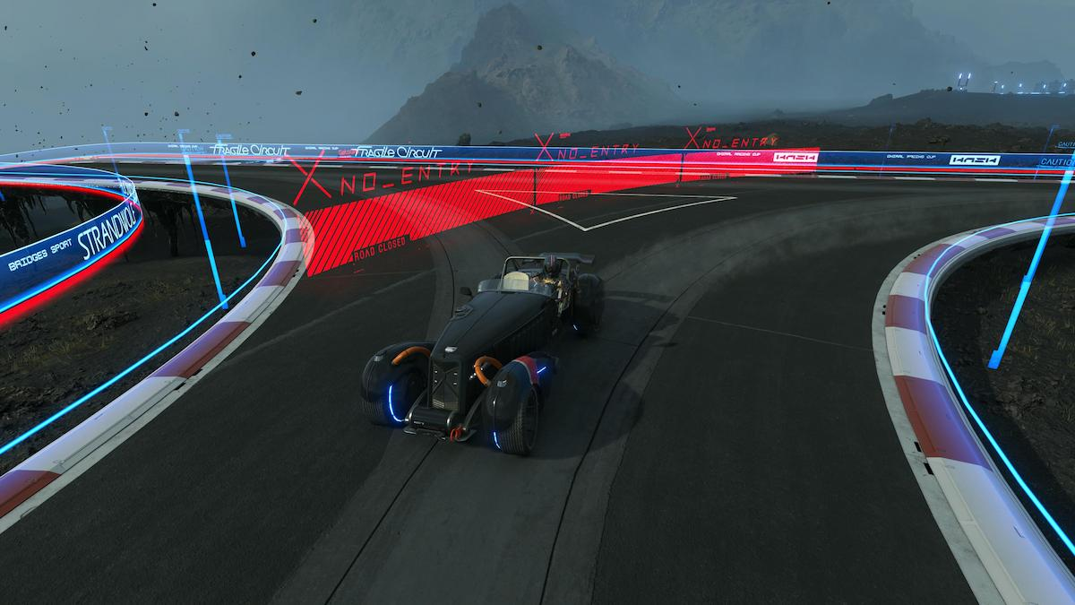 Sam driving on the racetrack in Death Stranding