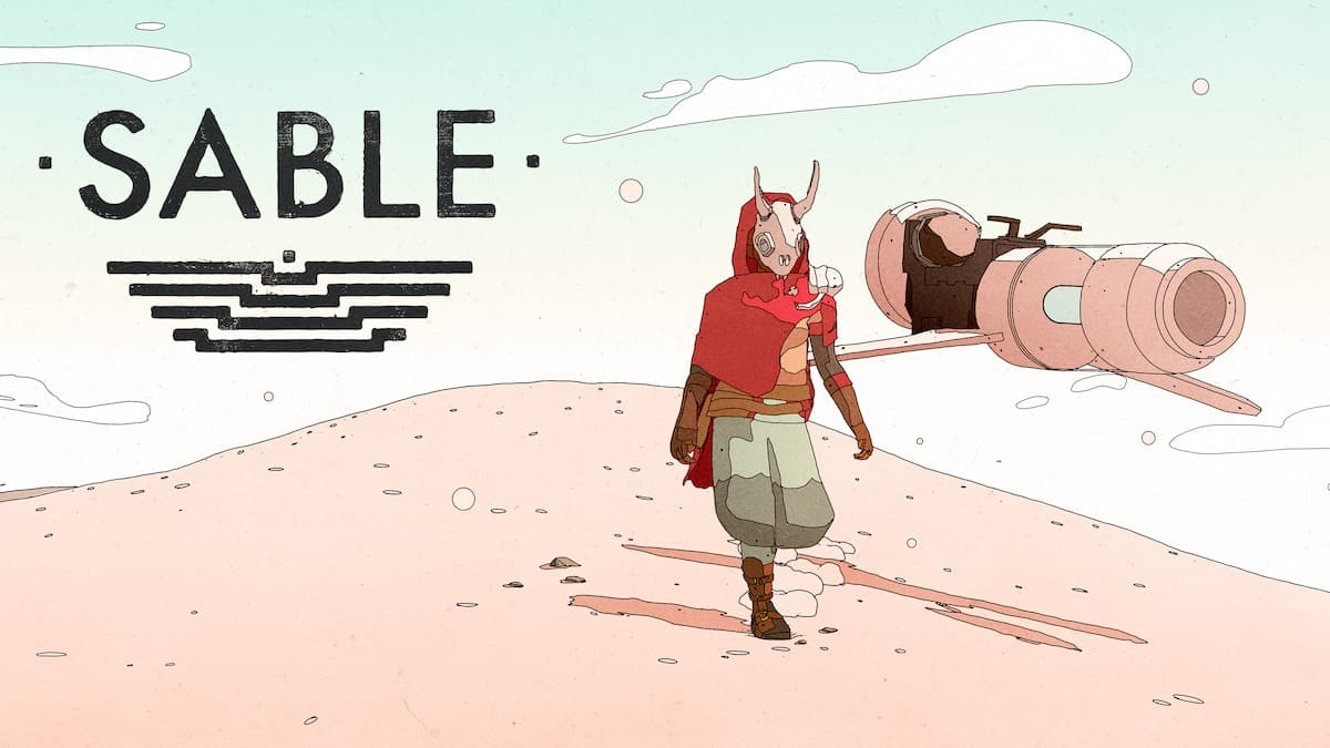 Sable walking on a desert dune with her hoverbike to her right and the logo of the game to her left.