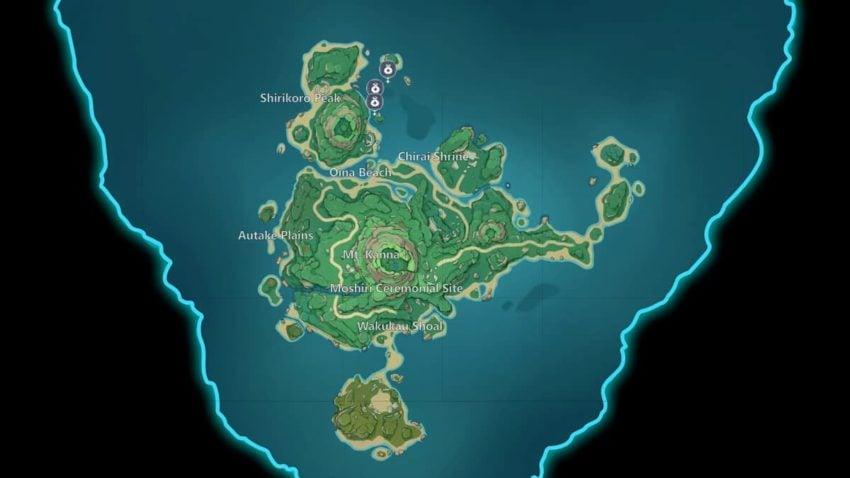 All three Star-Shaped Gem locations in Genshin Impact Tsurumi Island